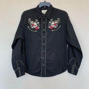 Roper Floral Skull & Crossbone Western Shirt